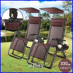 2 x HeavyDuty Reclining Folding Zero Gravity Chair Outdoor Garden Beach Sunshade