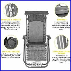 2 x Reclining Sun Lounger Outdoor Garden Patio Gravity Chair Adjustable Folding