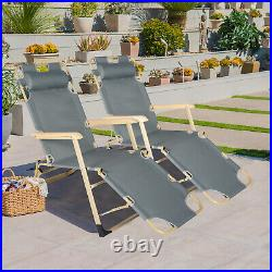 2PC Folding Chaise Lounge Chair Outdoor Reclining Seat Garden Beach Pool Sun Bed