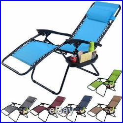 2PC Folding Zero Gravity Reclining Lounge Chairs Beach Patio WithUtility Tray