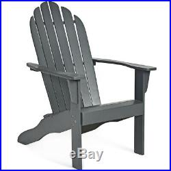 2PC Outdoor Adirondack Chair Solid Wood Durable Patio Garden Deck Furniture Gray