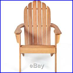 2PC Outdoor Adirondack Chair Solid Wood Durable Patio Garden Furniture Natural