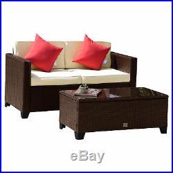 2PC Outdoor Patio Rattan Wicker Love Seat Bistro Sofa Set Garden Glass Top Table