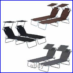 2PC Patio Sun Lounger Chair With Sunshade Canopy Garden Furniture Set Adjustable