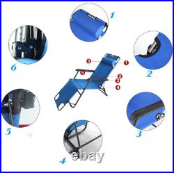 2PCS Folding Reclining Chair Lounge Patio Zero Gravity Chaise Outdoor Seat CA