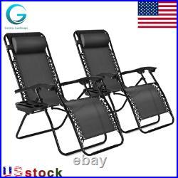 2PCS Folding Zero Gravity Reclining Lounge Chairs Outdoor Beach Patio Yard Garde