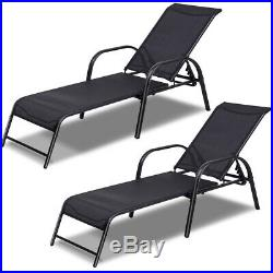2PCS Lounge Chair Outdoor Pool Patio Chaise Chair Metal Frame Adjustable Back