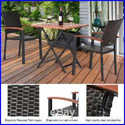 2PCS Patio Dining Chairs Armchair Stackable Rattan Wicker Outdoor Aluminum Frame