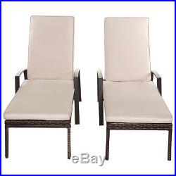 2PCS Patio Rattan Lounge Chair Garden Furniture Adjustable Back With Cushion