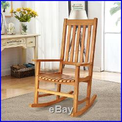 2PCS Wood Rocking Chair Porch Rocker High Back Garden Seat Indoor Outdoor Teak