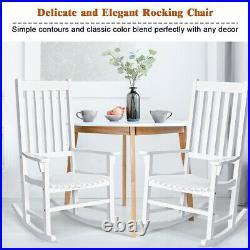 2PCS Wood Rocking Chair Porch Rocker High Back Garden Seat Indoor Outdoor White