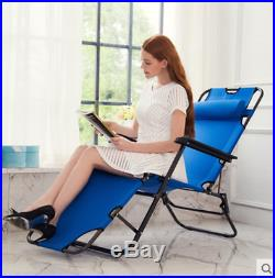 2PCS Zero Gravity Blue Folding Reclining Chaise Lounge In/Outdoor Portable Seat