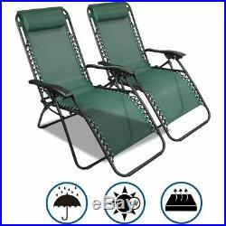 2Pcs Reclining Sun Lounger Outdoor Garden Patio Gravity Chair Adjustable Head