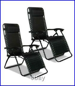 2X No Gravity Recliner Outdoor Chair Reclining Garden Sun Lounger Portable