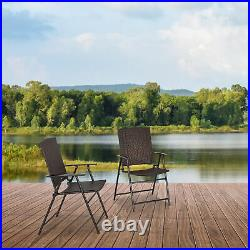 2pcs Folding Garden Chair Rattan Bistro Set with Armrest for Outdoor Steel Frame