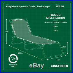 2x 3 Position Reclining Sun Lounger Folding Garden Chair Bed Outdoor Recliner