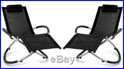 2x Black Rocking Sun Lounger Outdoor Folding Orb Chair Moon Rocker Garden Patio