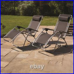 2x Gravity Reclining Sun Chairs Garden Loungers Folding Bed With Pillow Patio