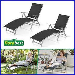 2x Sun Loungers Adjustable Back Arm Rest Garden Chair Bed Aluminium Fold Away