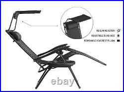 2x Zero Gravity Chair With Sunshade Sunlounger Outdoor Garden Folding Black