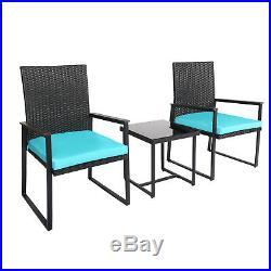 3 PCS Outdoor Patio Rattan Wicker Furniture Set Tea Table Sofa Yard Deck Blue