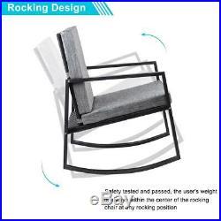 3 PCS Patio Rocking Wicker Bistro Set Outdoor Rattan Wicker Set with Gray Cushion