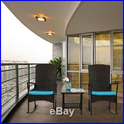 3 PCS Rattan Wicker Patio Furniture Set Rocking Chair With Coffee Table Cushioned