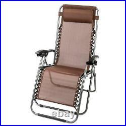 3 PCS Zero Gravity Chair Patio Chaise Lounge Chairs Table Chair Yard Set Brown