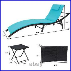 3-Pcs Adjustable Pool Chaise Lounge Chair Outdoor Patio Furniture Blue Cushion