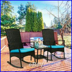 3 Pcs Outdoor Rattan Wicker Rocker Lounge Rocking Chair Patio Furniture Set