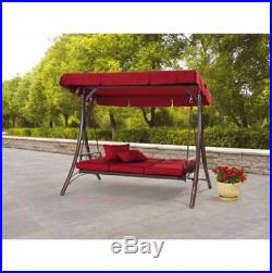 3 Person Canopy Porch Swing Bed Full Recline Outdoor Patio Garden Bench Chair