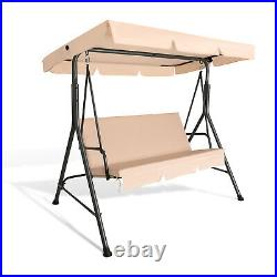 3-Person Outdoor Patio Swing Chair Hanging Swing Glider with Removable Cushion