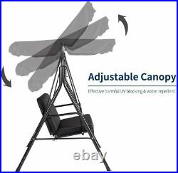3-Person Outdoor Swing Chair Patio Hanging Bench With Canopy & Removable Cushion