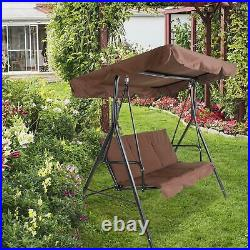 3-Person Outdoor Swing Chair Patio Hanging Garden Bench Canopy Removable Cushion