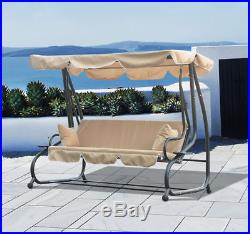 3 Person Outdoor Swing Seat Patio Hammock Furniture Bench Bed Loveseat WithCanopy