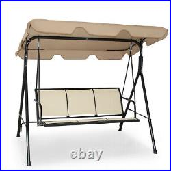 3 Person Patio Swing Outdoor Canopy Awning Yard Furniture Hammock Steel