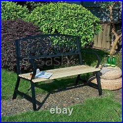 3 Seater Cast Iron Garden Outdoor W Floral Design Back Park Bench Seat Furniture