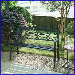 3 Seater Cast Iron Garden Outdoor W Scroll Design Back Park Bench Seat Furniture