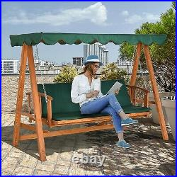 3 Seater Wooden Garden Swing Chair Seat Hammock Bench Lounger Bed