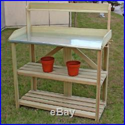 3 Shelf Outdoor Garden Wooden Potting Work Bench Station Planting Workbench