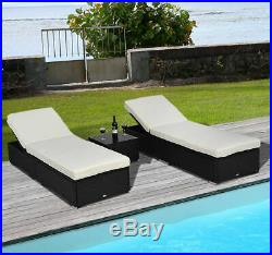 3PC Rattan Wicker Chaise Lounge Chair Set Outdoor Patio Garden Furniture Pool