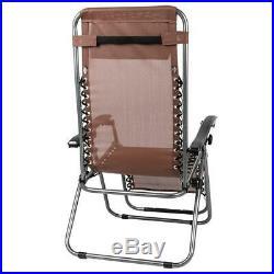 3PC Zero Gravity Folding Beach Recliner Chair Adjustable Patio Garden Lounge