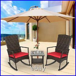 3PCS All-Weather Rattan Wicker Rocking Chair Set of 2 Lounge Rocker Side Table