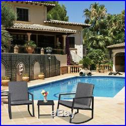 3PCS Bistro Sets Outdoor Front Porch Rocking Chair Garden Patio Furniture Black