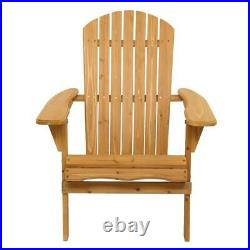 3PCS Folding Wooden Adirondack Chairs Table Outdoor Patio Furniture Lounge Seat