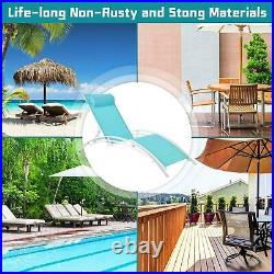 3Pcs Adjustable Pool Chaise Lounge Chair Outdoor Patio Furniture Cushion withtable