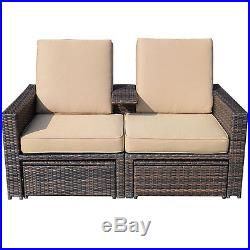 3pc Rattan Wicker Chaise Lounge Chair Patio Furniture Set Pool withOttoman Storage