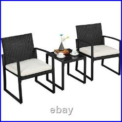 3pcs Conversation Set Patio Bistro Furniture Wicker Chairs with Table & Cushions