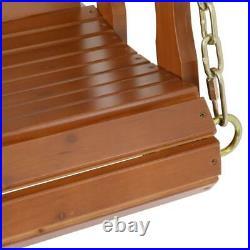 4.7ft Wood Porch Swing Hanging Patio Furniture Garden Bench Seat Deck Courtyard