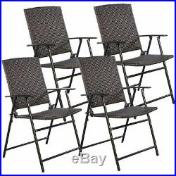 4 PCS Brown Folding Rattan Chair Furniture Outdoor Indoor Camping Garden Pool